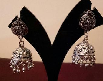 Oxidised Indian  Silver Plated handmade Jhumki Earrings, Indian earring, Indian jewelry , Jhumkas