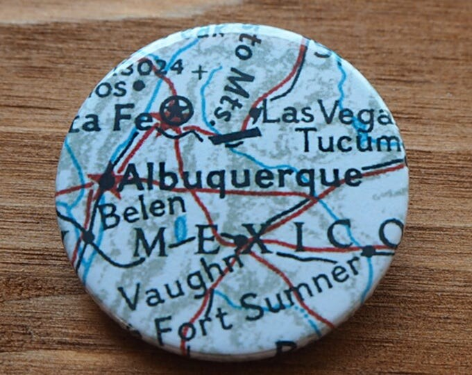 Pinback Button, Albuquerque, USA, Ø 1.5 Inch Badge, Atlas, Travel, vintage, fun, typography, whimsical