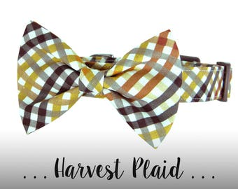 Fall Plaid Bow Tie Dog Collar; Orange, Brown, Yellow Dog Collar: Harvest Plaid