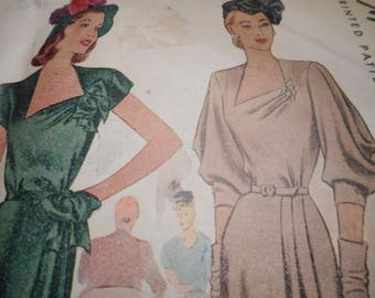 SALE Vintage 1940's McCall 6598 Dress Sewing Pattern Size 18 Bust 36