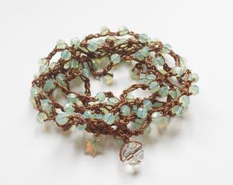 Mint green opal Swarovski crystal bead mala meditation necklace / yoga wrap bracelet