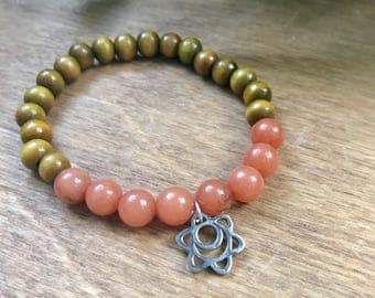Sacral Chakra Mala Bracelet, Sandalwood, Orange Aventurine, Intrinsic Journeys Jewelry, Beaded Bracelet