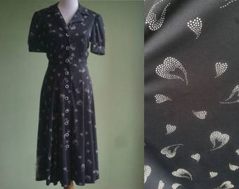 1980's Heart's Aflutter Dress - 80's does 40's Dress - Medium