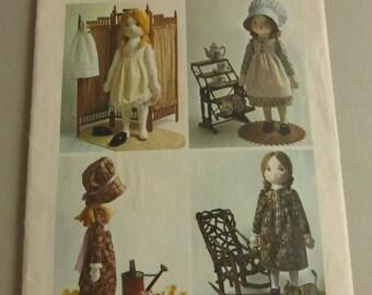 Vintage Simplicity Pattern 6006 Holly Hobbie Rag Doll and Wardrobe  Uncut