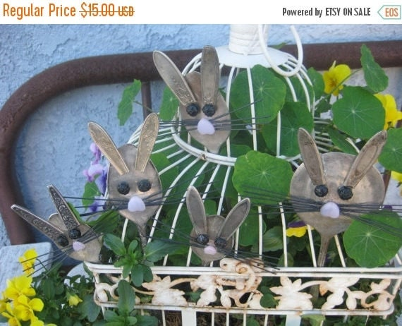 JUNE SALE GARDEN Marker Bunny Rabbit - Silver Plated Large Serving Spoon - Spoon Garden Marker- Plant Stake- Easter- Mother's Day