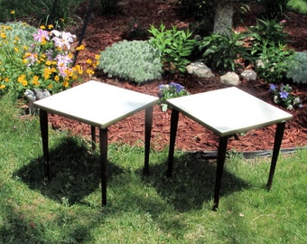 Retro End Tables Pair - Plant Stands - Snack Trays - Corner Lamp Stand - Versatile Vintage Furniture - Mid Century Home Decor