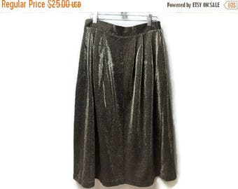 SALE Gold Skirt - Holiday Wear - Vintage 70s 80s - Party Skirt S M