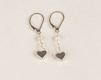 Solid Sterling Hearts and Pearls