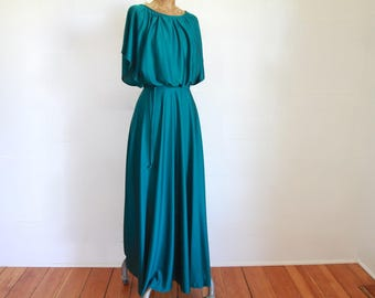 1970s Jewel Tone Grecian Dress / Vintage 70s Tie Waist Blouson Maxi Dress / Small