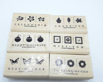 Gently Used Stampin Up stamps, Take Three, various occasion stamps, butterflies, flowers, autumn leaves, holiday ornaments