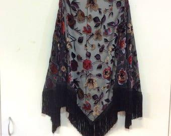 Black Velvet Floral Cutwork Wrap