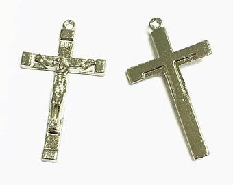 8pc 45x25mm antique silver finish metal cross pendants-1028J