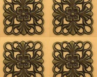 10pc 16mm antique bronze finish brass made square wraps-7694i
