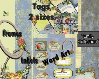 "81 pc Digital Journal Kit ""Emily"" with Mystery Bonus  Ephemera Use for Scrapbook, Junk Journal, Card Making Projects"