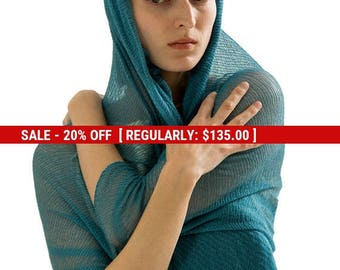 SALE Teal women knitted scarf,Turquoise Big sheer Bamboo silk scarf