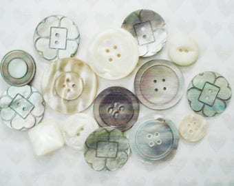 Assorted MOP Buttons - 15 Vintage Mother Of Pearl Buttons - MOP Wafer Buttons - Fancy MOP Buttons - Large Mother Of Pearl Buttons