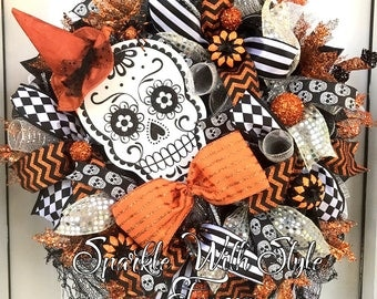 HUGE! ONE Available ! Day of the Dead Wreath - Sugar Skull - Día de Muertos - Halloween Wreath - Day of the Dead Decor - Halloween Decor