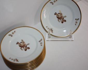 "Set 8 Vintage Royal Copenhagen Brown Rose ""Golden Basket"" Dessert Plates/Bread and Butter Plates/6.25"" Plates Mint Condition"