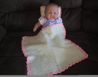 White and Pink Baby Doll Blanket and Pillow Set
