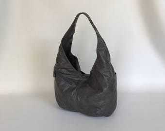 Distressed Gray Leather Hobo Bag, Fashion Handbag with Outside Pockets, Trendy Bags, Alicia