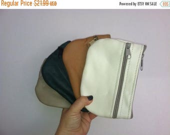 ON SALE Coin Leather Bag, Mini Pouch Purse, Small Cosmetic Bags, Handmade Handbags
