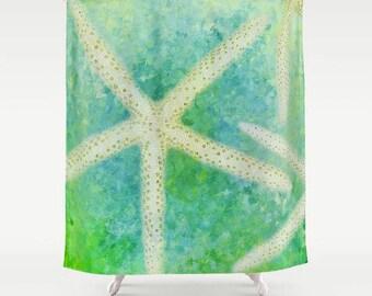Seastar Shower Curtain, Starfish Shower Curtain, Bath Curtain, Beach Decor, Bathroom Decor, Seashell Shower Curtain, Beach Photography