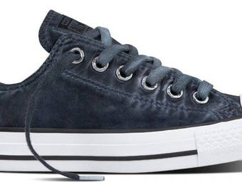 Converse Black Low Top Wash Monochromatic Custom Kicks w/ Swarovski Crystal Rhinestone Grey Chuck Taylor All Star Mens Ladies Sneaker Shoes