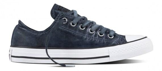 Converse Black Low Top Wash Monochromatic Custom Kicks w/ Swarovski Crystal Rhinestone Grey Chuck Taylor All Star Mens Ladies Sneaker Shoes