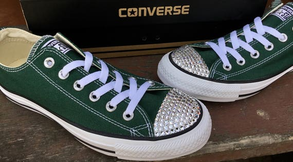 Custom Forest Hunter Green Converse Gloom Low Top Bling Custom w/ Swarovski Crystal Rhinestone Jewel Chuck Taylor All Star Sneakers Shoes