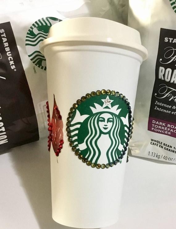 Starbucks Swag Collector Cup Autumn w/ Swarovski Crystal reuseable 16oz Grande Eco Travel Coffee Tea Tumbler mug drink Rhinestone Bling Gift