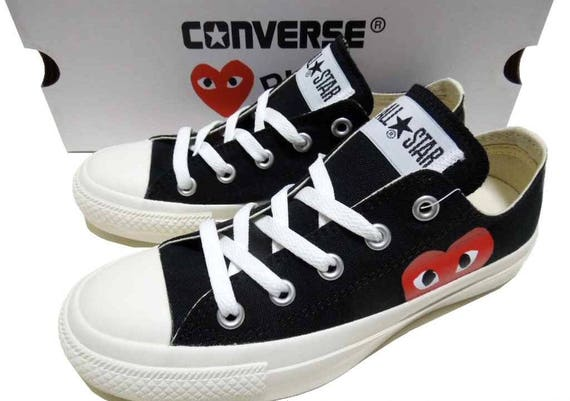 Black Converse comme des garcons Play Low Top Lady Mens w/ Swarovski Crystal Rhinestone Chuck Taylor Custom All Star Sneakers Trainer Shoes