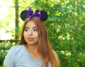Purple Bow Mouse Ears Headband. Girl Mouse Ears Headband. Womens Headband. Mouse Headband. Disney Headband. One Size Fits Most