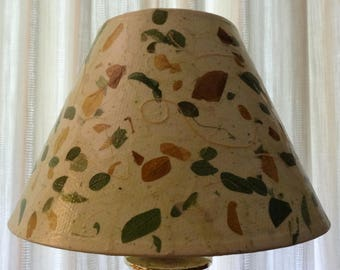 Botanical Lampshade - Medium Decoupage Shade using Handmade Paper with Brown & Green Leaves and Straw