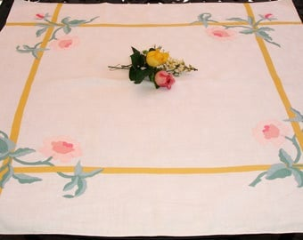 Table cloth, Table cover, Linen Tablecloth, Square, Applique detailing, Cottage chic decor, High tea linens, Ladies tea, table topper