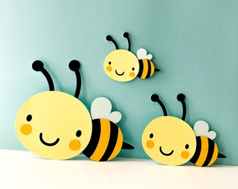 Bumble BEE Die cuts (Set B) CHOOSE your SIZE bug Bee cutouts Party Bee Baby Shower diecuts cut outs toppers embellishment