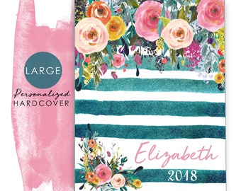 Large 2018 Personalized Planner Hardcover Agenda Calendar with Watercolor Floral on Teal Stripes