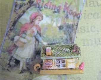 LIMITED TINY Red Riding Hood Cottage house opens Wolf in Bed antique style Toy - Jill Dianne Dollhouse Miniature