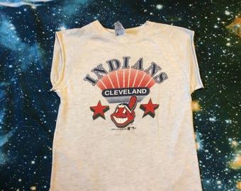 Vintage Cleveland Indians MLB Baseball Cut Off Sleeve Super Soft T-Shirt