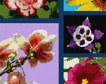 Needlepoint Kit or Canvas: Floral Collage