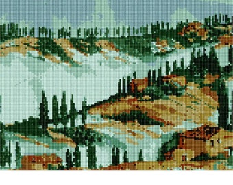 Needlepoint Kit or Canvas: Tuscany In Watercolor
