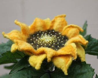 Custom Order for Jan / Set of 6 felted flower brooch  / Felted  Sunflower  / yellow felted flower embroidered with beads
