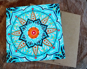 greeting card - tiny but mighty - frame-ready blank square card - blank greeting card - mandala art - blank card