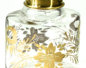 Lovely Glass Dresser Vanity Jar Hand Painted Gold Leaf Floral Accent Brass Top Glass Jar Small Glass Vanity Dresser Jar Container