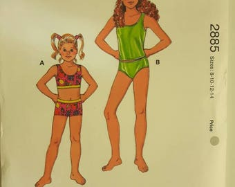 Kwik Sew Girl's Swimsuit Sewing Pattern 2885