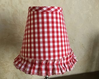 Red And White Gingham Chandelier Lampshade Check Shade With Ruffle