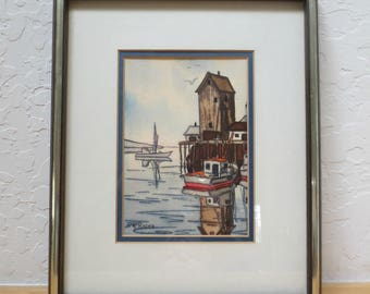 """Scarce Vintage Konstantin Rodko Seascape Watercolor Painting, 8"""" by 10"""" Matted and Framed"""