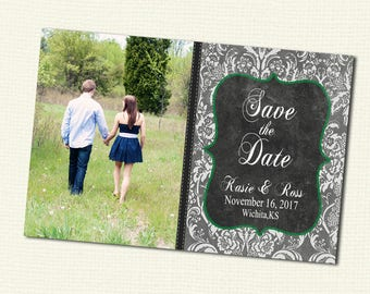 Digital File Custom Save the Date with photo and your colors, Print your own 4x6 or 5x7