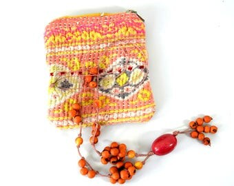 small kantha gift purse, surprise purse, kantha pouch, gift for her, purse with necklace, mexican necklace, kanthan