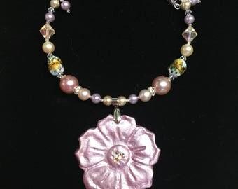 Soft Lavender Remembrance Flower Necklace