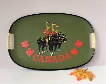 Canada Souvenir Tray, Vintage Tilso Serving Tray, Royal Canadian Mounted Police RCMP, Hand Painted Pressboard, Large Tray, Mint Condition
